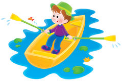 Boating boy. Isolated clipart illustration of a boy sitting in a boat Stock Photo