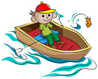 Boating boy. Isolated line art illustration of a boy sitting in a boat Stock Photography