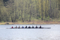 Sculling in Burnaby Lake. A team of nine practices the sport of competitive sculling in their 8 people shell. This is taken in Burnaby Lake, BC, Canada stock photography