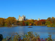 Boating in Central Park. View on a lake in Central Park, New York city Stock Photo