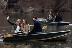 Boating on the Central Park Lake Stock Photo