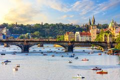 Boating in the centre of Prague near Old Town and Manes bridge stock images
