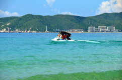 Boating, China, Hainan, Sania, Yalong bay Stock Photos