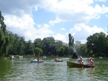 Boating on Cismigiu lake in Bucharest Royalty Free Stock Images