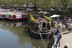 Boating festival and cavalcade. Little Venice, London UK. The colourful decorated boats on the second day of the Inland Waterways Association cavalcade at Little Stock Image