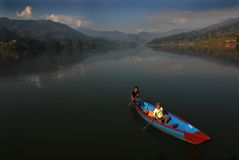 Boating at Fewa Lake Royalty Free Stock Images