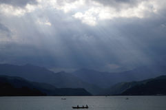 Boating in Fewa Lake, Pokhara Stock Image
