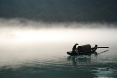 Boating in the fog royalty free stock image