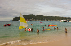 Boating fun in the windward islands on a sunday Royalty Free Stock Photos