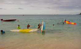 Boating fun in the windward islands on a sunday Stock Images