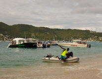 Boating fun in the windward islands on a sunday Royalty Free Stock Photography