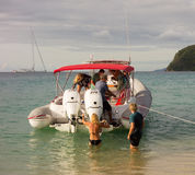 Boating fun in the windward islands on a sunday Stock Photos