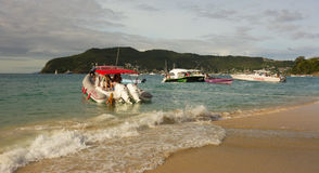 Boating fun in the windward islands on a sunday Stock Photo