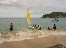 Boating fun in the windward islands Stock Photos