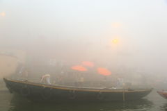 Boating on Ganges River with dense fog Royalty Free Stock Photography