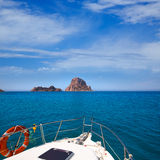 Boating in Ibiza with Es Vedra y Vedranell islands Stock Images