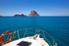 Boating in Ibiza with Es Vedra y Vedranell islands Royalty Free Stock Images