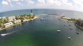 Boating inlet in Florida aerial view stock video