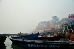 Boating. On internal Ganga, in city of silence and death, Varanasi (Banaras), India Stock Images