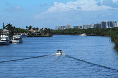 Boating on the Intracoastal off of Sunrise Boulevard Stock Image
