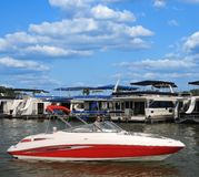 Boating In Kentucky. A marina with houseboats, at a small lake in Kentucky, USA Stock Images