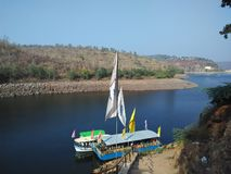 Boating krishna rivere srisilam. Boating in krishna river royalty free stock photo