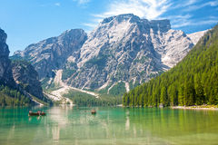 Boating on Lake Braies Stock Photography