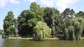 Boating on the lake Herastrau stock video