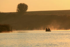 Boating on the lake in a huge fog Stock Image