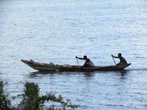 Boating in lake Kivu royalty free stock photo