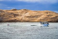 Boating on Lake Powell. In Glen Canyon National Recreation Area Utah Stock Image