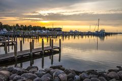 Boating Lifestyle Marina Sunset Background Stock Images