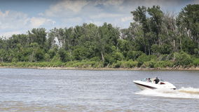 Boating on the Missouri river Royalty Free Stock Image