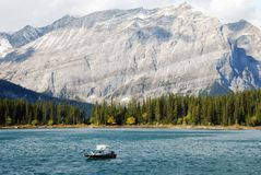 Boating among the moutains. Boating among the mountains at the upper lake, Kananaskis Country Alberta Canada Royalty Free Stock Photos