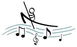 Boating on music vector illustration