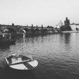 Boating in Prague. Photo was taken from a small Island surrounded by a River that cuts through Prague Royalty Free Stock Photos
