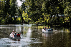 Boating on the river. Royalty Free Stock Photos