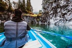 Boating in Ruskeala, Karelia republic, Russian Federation stock images