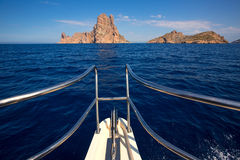 Boating sailing in Ibiza near es Vedra island Stock Image
