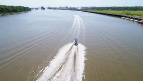 Boating in the Savannah River stock footage