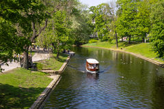 Boating. Summer boating channel in Riga Royalty Free Stock Photos