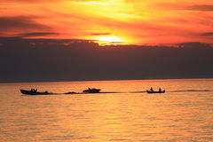Boating at Sunset Royalty Free Stock Photography