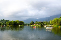Boating on Taiping Lake, Taiping at Sunset, Malaysia Royalty Free Stock Photography
