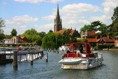 Boating on the Thames at Marlow. Pleasure boating on the Thames at Marlow, Buckinghamshire, England Stock Photography