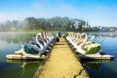 Boating tourism at Xuan Huong lake Stock Photos