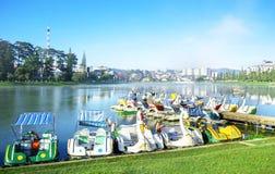 Boating tourism at Xuan Huong lake Royalty Free Stock Photos