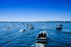 Boating Traffic Jam Sea Fair Lake Washington Royalty Free Stock Photo