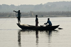 Boating at Varanasi Ghats Royalty Free Stock Photo