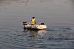 Boating in Yamuna river Stock Images