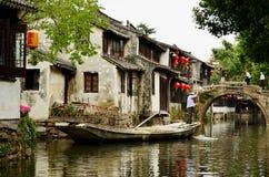 Boatman on Canal, Zhouzhuang, China Stock Image